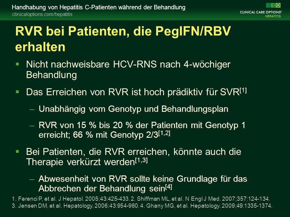 clinicaloptions.com/hepatitis Handhabung von Hepatitis C-Patienten während der Behandlung RVR bei Patienten, die PegIFN/RBV erhalten  Nicht nachweisbare HCV-RNS nach 4-wöchiger Behandlung  Das Erreichen von RVR ist hoch prädiktiv für SVR [1] –Unabhängig vom Genotyp und Behandlungsplan –RVR von 15 % bis 20 % der Patienten mit Genotyp 1 erreicht; 66 % mit Genotyp 2/3 [1,2]  Bei Patienten, die RVR erreichen, könnte auch die Therapie verkürzt werden [1,3] –Abwesenheit von RVR sollte keine Grundlage für das Abbrechen der Behandlung sein [4] 1.