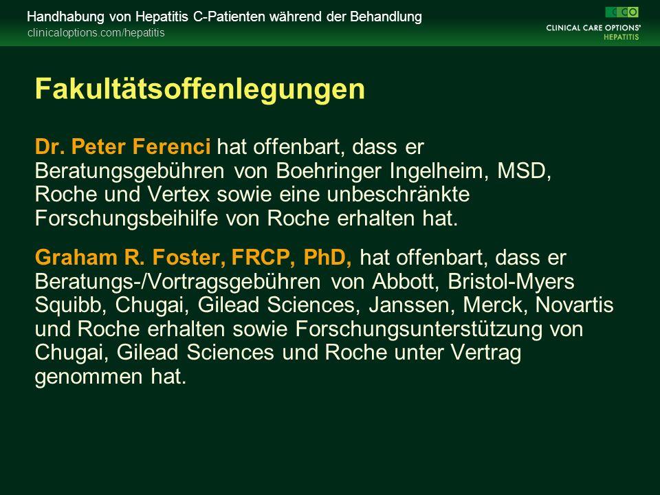 clinicaloptions.com/hepatitis Handhabung von Hepatitis C-Patienten während der Behandlung Fakultätsoffenlegungen Dr.