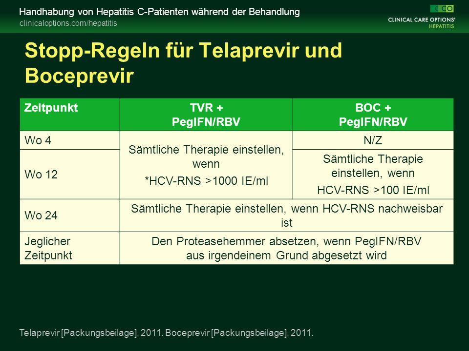 clinicaloptions.com/hepatitis Handhabung von Hepatitis C-Patienten während der Behandlung Stopp-Regeln für Telaprevir und Boceprevir Telaprevir [Packungsbeilage].