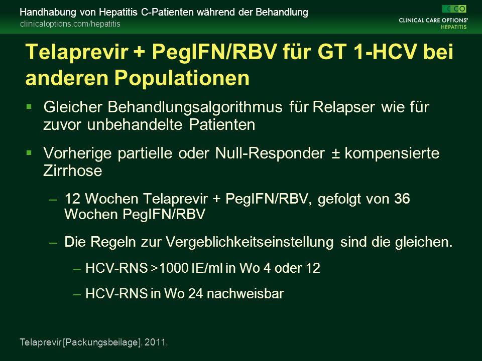 clinicaloptions.com/hepatitis Handhabung von Hepatitis C-Patienten während der Behandlung Telaprevir + PegIFN/RBV für GT 1-HCV bei anderen Populationen  Gleicher Behandlungsalgorithmus für Relapser wie für zuvor unbehandelte Patienten  Vorherige partielle oder Null-Responder ± kompensierte Zirrhose –12 Wochen Telaprevir + PegIFN/RBV, gefolgt von 36 Wochen PegIFN/RBV –Die Regeln zur Vergeblichkeitseinstellung sind die gleichen.