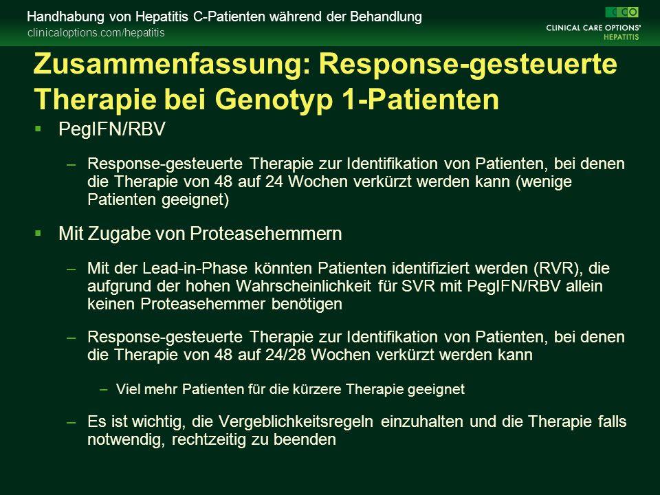 clinicaloptions.com/hepatitis Handhabung von Hepatitis C-Patienten während der Behandlung Zusammenfassung: Response-gesteuerte Therapie bei Genotyp 1-Patienten  PegIFN/RBV –Response-gesteuerte Therapie zur Identifikation von Patienten, bei denen die Therapie von 48 auf 24 Wochen verkürzt werden kann (wenige Patienten geeignet)  Mit Zugabe von Proteasehemmern –Mit der Lead-in-Phase könnten Patienten identifiziert werden (RVR), die aufgrund der hohen Wahrscheinlichkeit für SVR mit PegIFN/RBV allein keinen Proteasehemmer benötigen –Response-gesteuerte Therapie zur Identifikation von Patienten, bei denen die Therapie von 48 auf 24/28 Wochen verkürzt werden kann –Viel mehr Patienten für die kürzere Therapie geeignet –Es ist wichtig, die Vergeblichkeitsregeln einzuhalten und die Therapie falls notwendig, rechtzeitig zu beenden