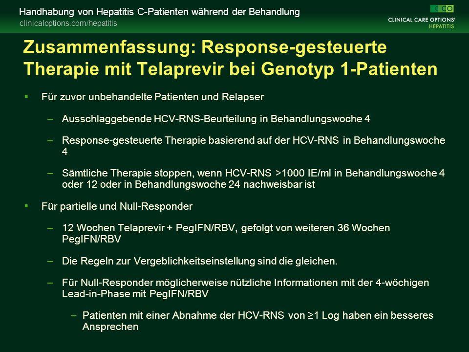 clinicaloptions.com/hepatitis Handhabung von Hepatitis C-Patienten während der Behandlung Zusammenfassung: Response-gesteuerte Therapie mit Telaprevir bei Genotyp 1-Patienten  Für zuvor unbehandelte Patienten und Relapser –Ausschlaggebende HCV-RNS-Beurteilung in Behandlungswoche 4 –Response-gesteuerte Therapie basierend auf der HCV-RNS in Behandlungswoche 4 –Sämtliche Therapie stoppen, wenn HCV-RNS >1000 IE/ml in Behandlungswoche 4 oder 12 oder in Behandlungswoche 24 nachweisbar ist  Für partielle und Null-Responder –12 Wochen Telaprevir + PegIFN/RBV, gefolgt von weiteren 36 Wochen PegIFN/RBV –Die Regeln zur Vergeblichkeitseinstellung sind die gleichen.