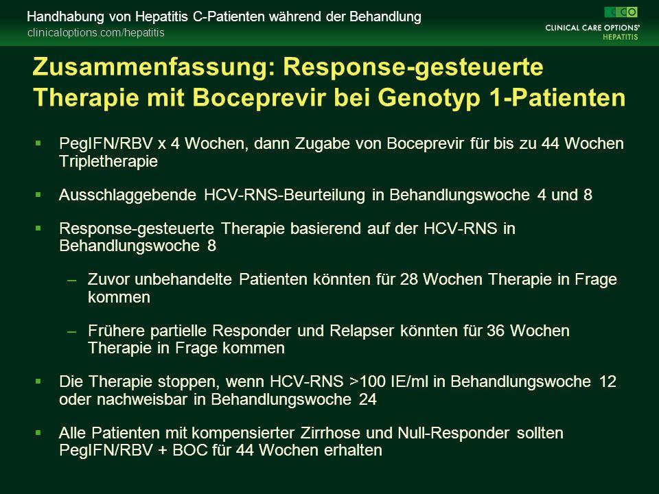 clinicaloptions.com/hepatitis Handhabung von Hepatitis C-Patienten während der Behandlung Zusammenfassung: Response-gesteuerte Therapie mit Boceprevir bei Genotyp 1-Patienten  PegIFN/RBV x 4 Wochen, dann Zugabe von Boceprevir für bis zu 44 Wochen Tripletherapie  Ausschlaggebende HCV-RNS-Beurteilung in Behandlungswoche 4 und 8  Response-gesteuerte Therapie basierend auf der HCV-RNS in Behandlungswoche 8 –Zuvor unbehandelte Patienten könnten für 28 Wochen Therapie in Frage kommen –Frühere partielle Responder und Relapser könnten für 36 Wochen Therapie in Frage kommen  Die Therapie stoppen, wenn HCV-RNS >100 IE/ml in Behandlungswoche 12 oder nachweisbar in Behandlungswoche 24  Alle Patienten mit kompensierter Zirrhose und Null-Responder sollten PegIFN/RBV + BOC für 44 Wochen erhalten
