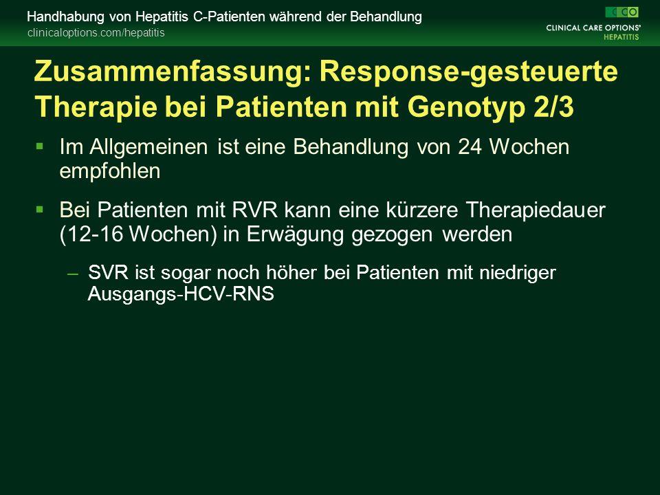 clinicaloptions.com/hepatitis Handhabung von Hepatitis C-Patienten während der Behandlung Zusammenfassung: Response-gesteuerte Therapie bei Patienten mit Genotyp 2/3  Im Allgemeinen ist eine Behandlung von 24 Wochen empfohlen  Bei Patienten mit RVR kann eine kürzere Therapiedauer (12-16 Wochen) in Erwägung gezogen werden –SVR ist sogar noch höher bei Patienten mit niedriger Ausgangs-HCV-RNS