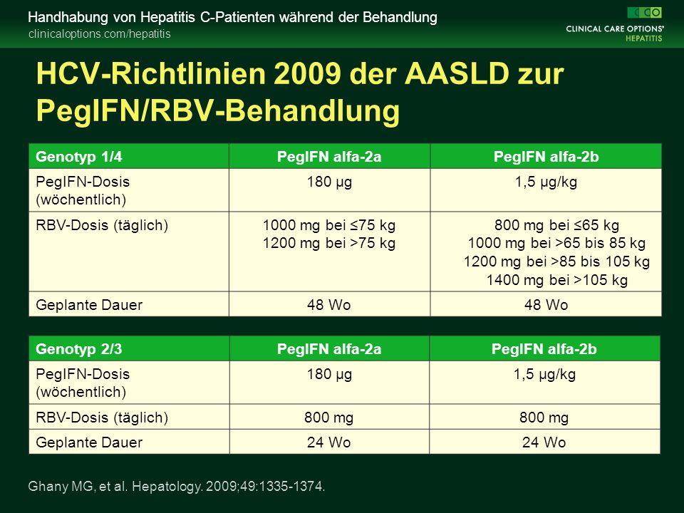 clinicaloptions.com/hepatitis Handhabung von Hepatitis C-Patienten während der Behandlung HCV-Richtlinien 2009 der AASLD zur PegIFN/RBV-Behandlung Ghany MG, et al.