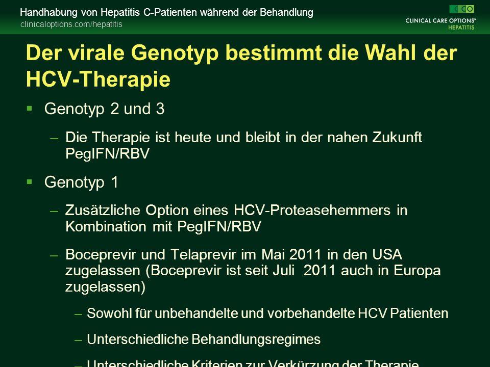 clinicaloptions.com/hepatitis Handhabung von Hepatitis C-Patienten während der Behandlung Der virale Genotyp bestimmt die Wahl der HCV-Therapie  Genotyp 2 und 3 –Die Therapie ist heute und bleibt in der nahen Zukunft PegIFN/RBV  Genotyp 1 –Zusätzliche Option eines HCV-Proteasehemmers in Kombination mit PegIFN/RBV –Boceprevir und Telaprevir im Mai 2011 in den USA zugelassen (Boceprevir ist seit Juli 2011 auch in Europa zugelassen) –Sowohl für unbehandelte und vorbehandelte HCV Patienten –Unterschiedliche Behandlungsregimes –Unterschiedliche Kriterien zur Verkürzung der Therapie