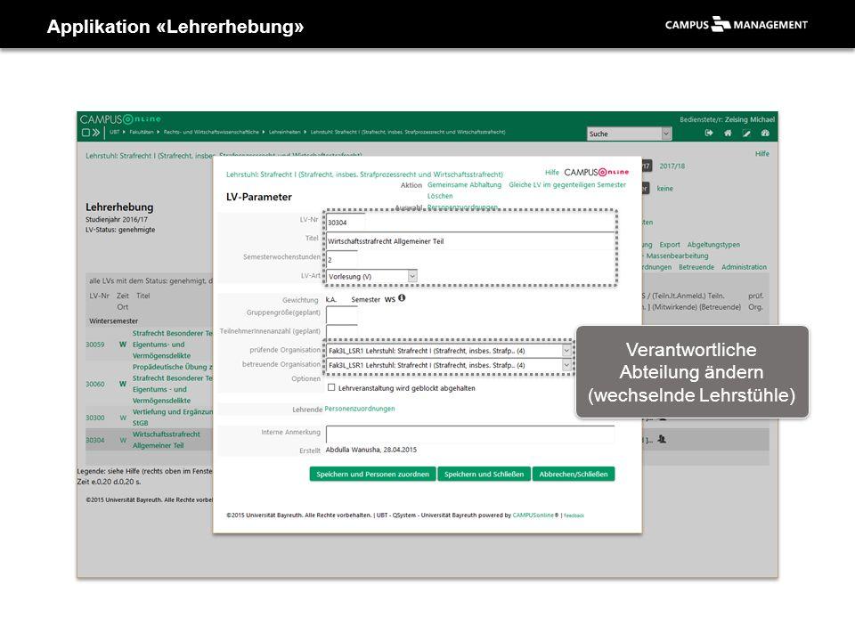 Applikation «Lehrerhebung» Verantwortliche Abteilung ändern (wechselnde Lehrstühle)