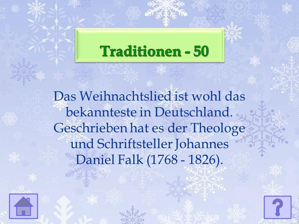 Das Weihnachtslied ist wohl das bekannteste in Deutschland.
