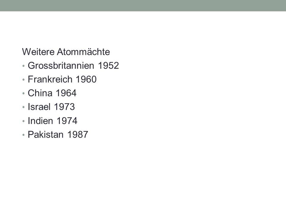 Weitere Atommächte Grossbritannien 1952 Frankreich 1960 China 1964 Israel 1973 Indien 1974 Pakistan 1987