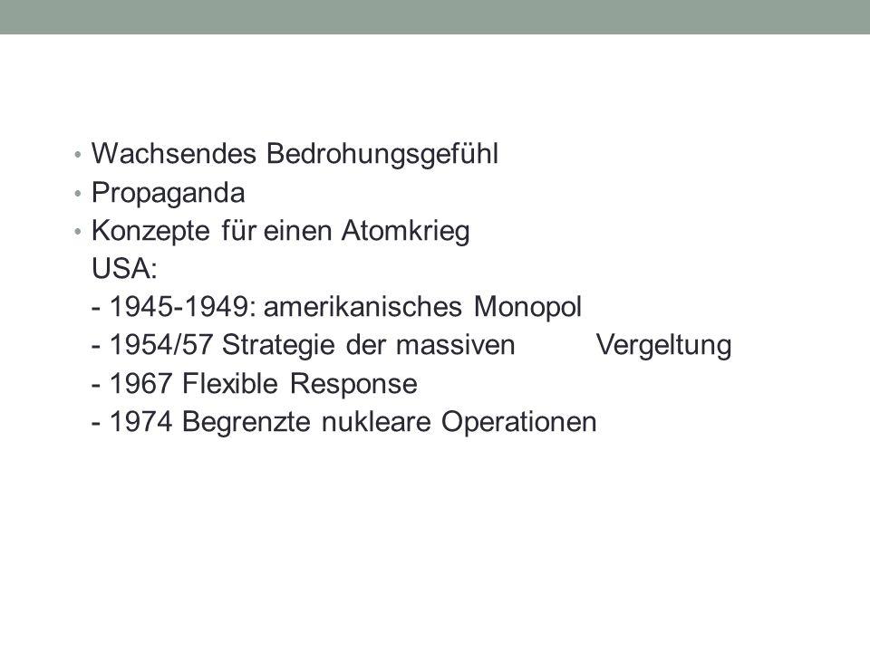 Wachsendes Bedrohungsgefühl Propaganda Konzepte für einen Atomkrieg USA: - 1945-1949: amerikanisches Monopol - 1954/57 Strategie der massiven Vergeltung - 1967 Flexible Response - 1974 Begrenzte nukleare Operationen