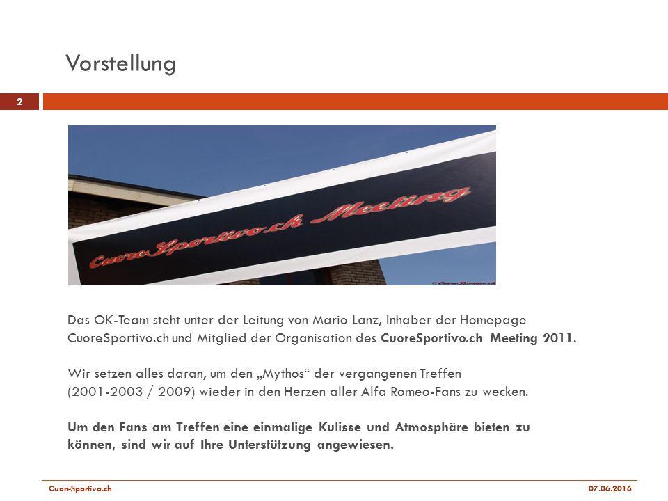 Das OK-Team steht unter der Leitung von Mario Lanz, Inhaber der Homepage CuoreSportivo.ch und Mitglied der Organisation des CuoreSportivo.ch Meeting 2011.