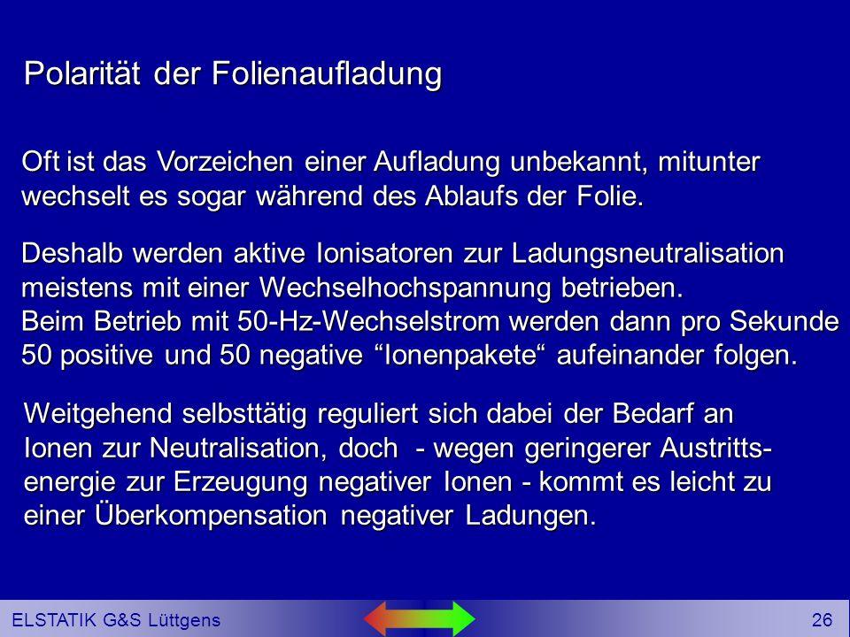 25 ELSTATIK G&S Lüttgens _ _ _ _++++++++++++ Hochspannungsgerät Hier befindet sich anstelle der geerdeten Elektrode eine positiv aufgeladene Isolierstofffolie.