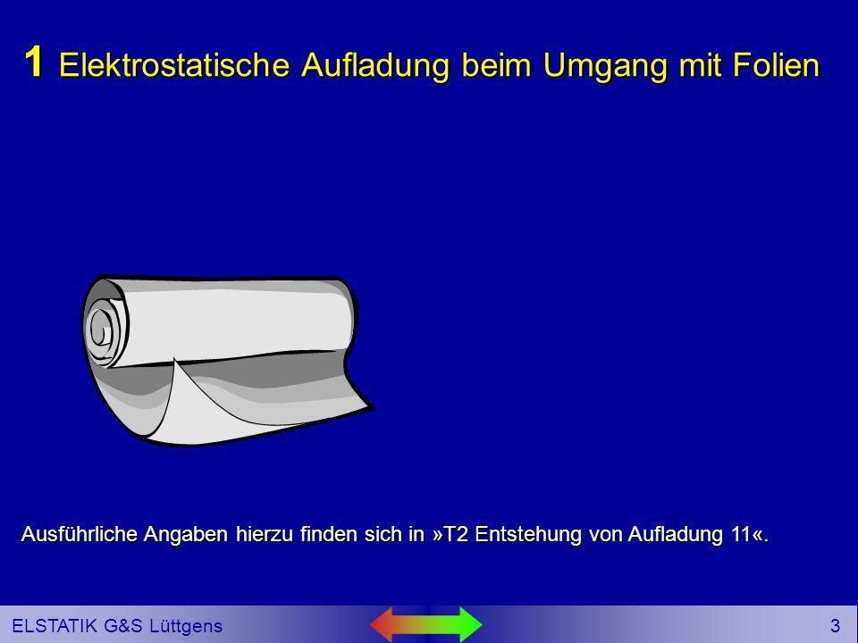 2 ELSTATIK G&S Lüttgens Gliederung 1 Elektrostatische Aufladung beim Umgang mit Folien 2 Wie können elektrostatische Aufladungen an Folien messtechnisch erfasst und bewertet werden.