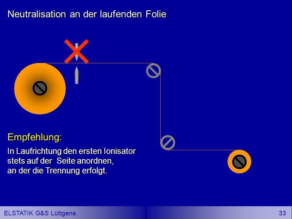 32 ELSTATIK G&S Lüttgens Neutralisation an der laufenden Folie Weitaus wirksamer ist es, Ionisatoren auf beiden Folienseiten anzuordnen.