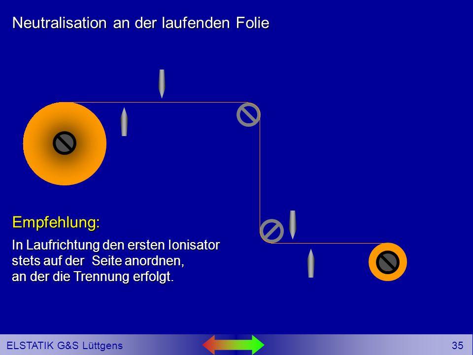 34 ELSTATIK G&S Lüttgens Neutralisation an der laufenden Folie In Laufrichtung den ersten Ionisator stets auf der Seite anordnen, an der die Trennung erfolgt.