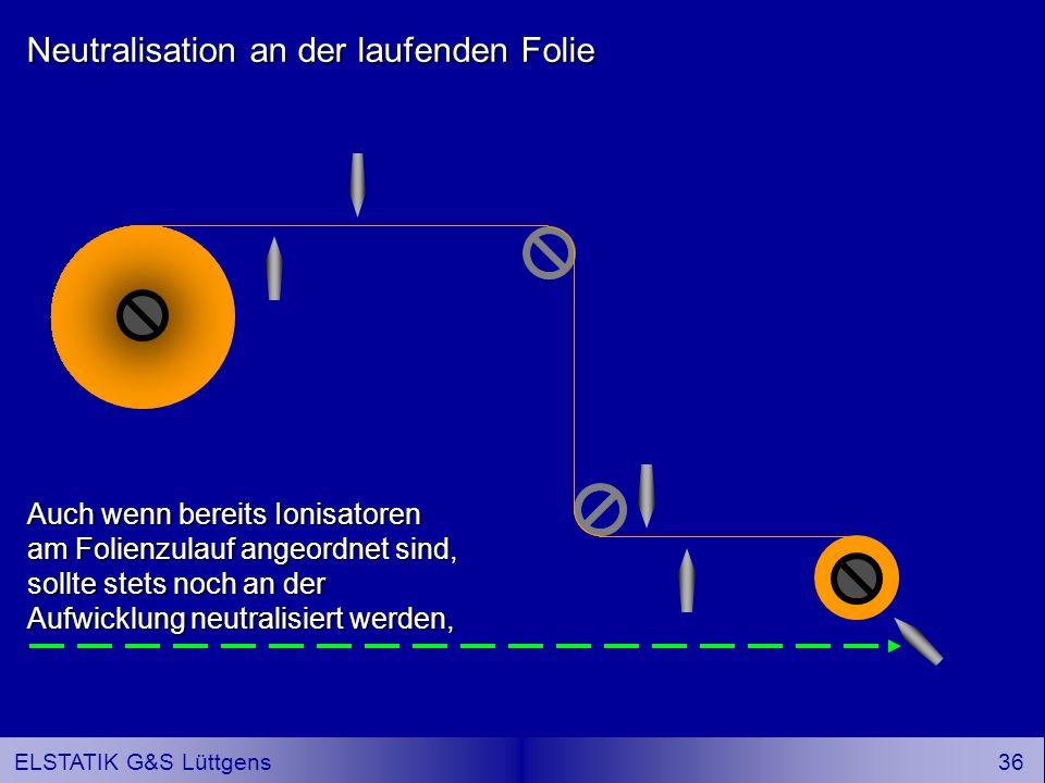 35 ELSTATIK G&S Lüttgens Neutralisation an der laufenden Folie In Laufrichtung den ersten Ionisator stets auf der Seite anordnen, an der die Trennung erfolgt.