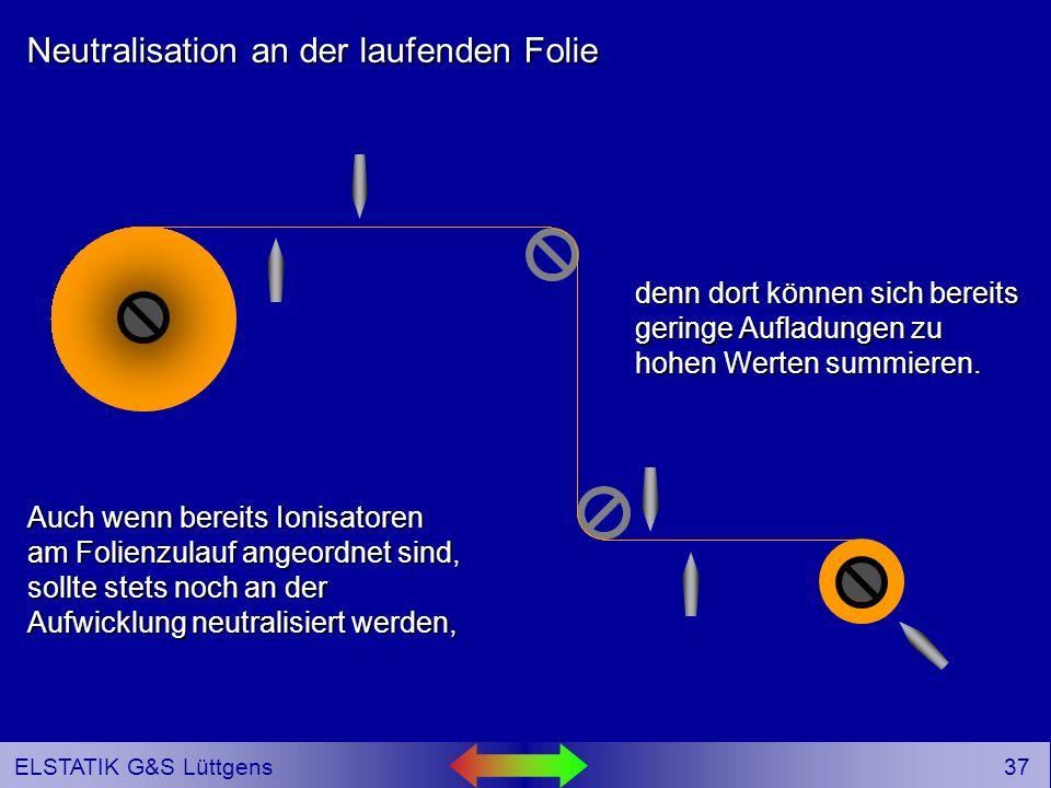 36 ELSTATIK G&S Lüttgens Neutralisation an der laufenden Folie Auch wenn bereits Ionisatoren am Folienzulauf angeordnet sind, sollte stets noch an der Aufwicklung neutralisiert werden,