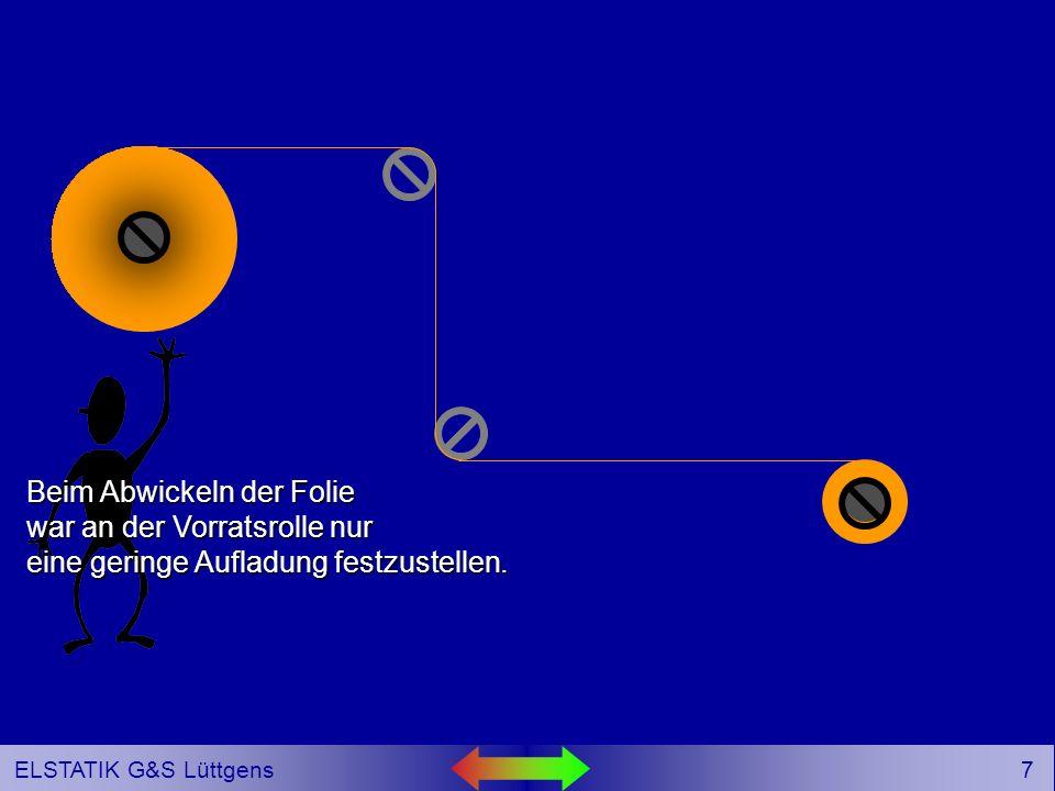 17 ELSTATIK G&S Lüttgens Die in der Büschelentladung übergetretene Ladung wird im Kondensator C gespeichert.