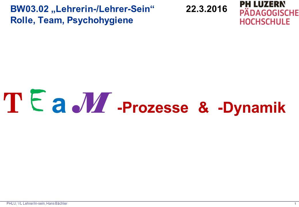 """PHLU, VL Lehrer/in-sein, Hans Bächler 1 BW03.02 """"Lehrerin-/Lehrer-Sein"""" 22.3.2016 Rolle, Team, Psychohygiene T E a M -Prozesse & -Dynamik"""