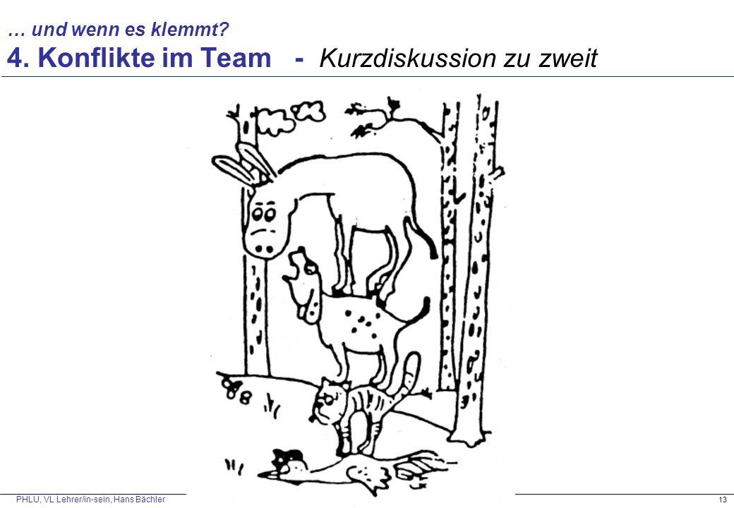 PHLU, VL Lehrer/in-sein, Hans Bächler … und wenn es klemmt? 4. Konflikte im Team - Kurzdiskussion zu zweit 13