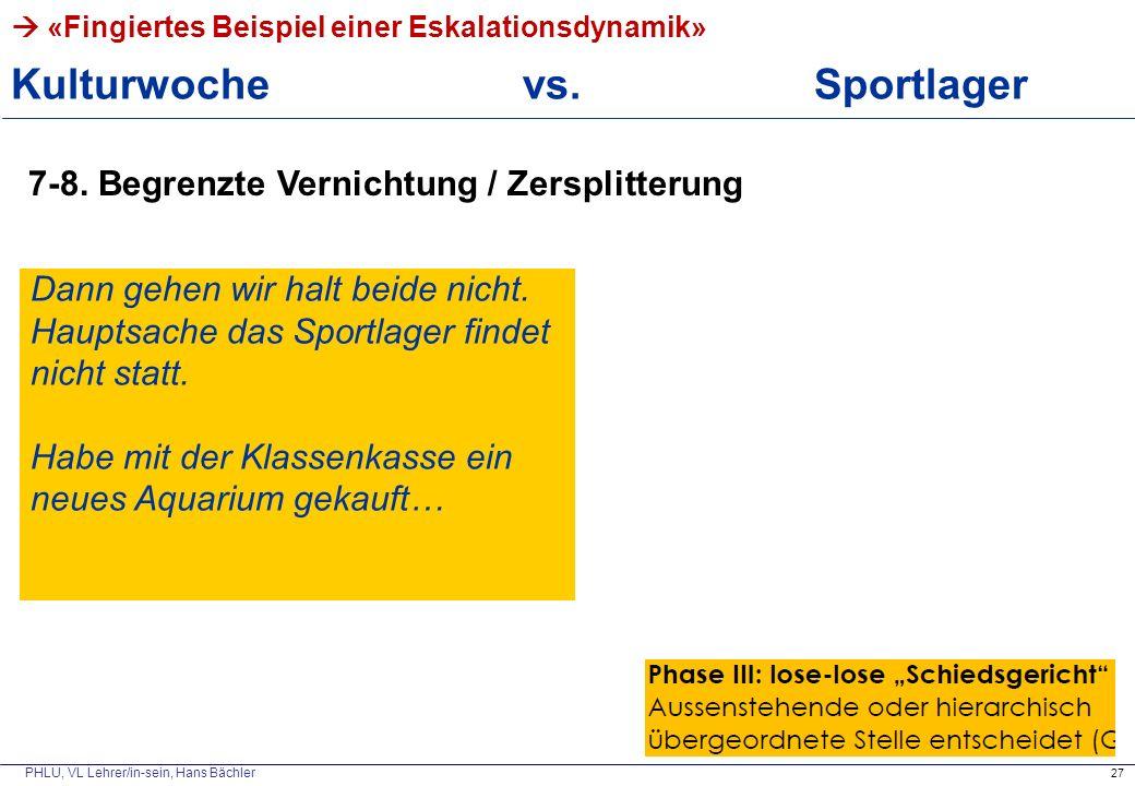 PHLU, VL Lehrer/in-sein, Hans Bächler  «Fingiertes Beispiel einer Eskalationsdynamik» Kulturwoche vs. Sportlager 27 7-8. Begrenzte Vernichtung / Zers