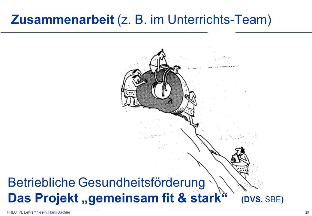 """PHLU, VL Lehrer/in-sein, Hans Bächler Zusammenarbeit (z. B. im Unterrichts-Team) 29 Betriebliche Gesundheitsförderung Das Projekt """"gemeinsam fit & sta"""