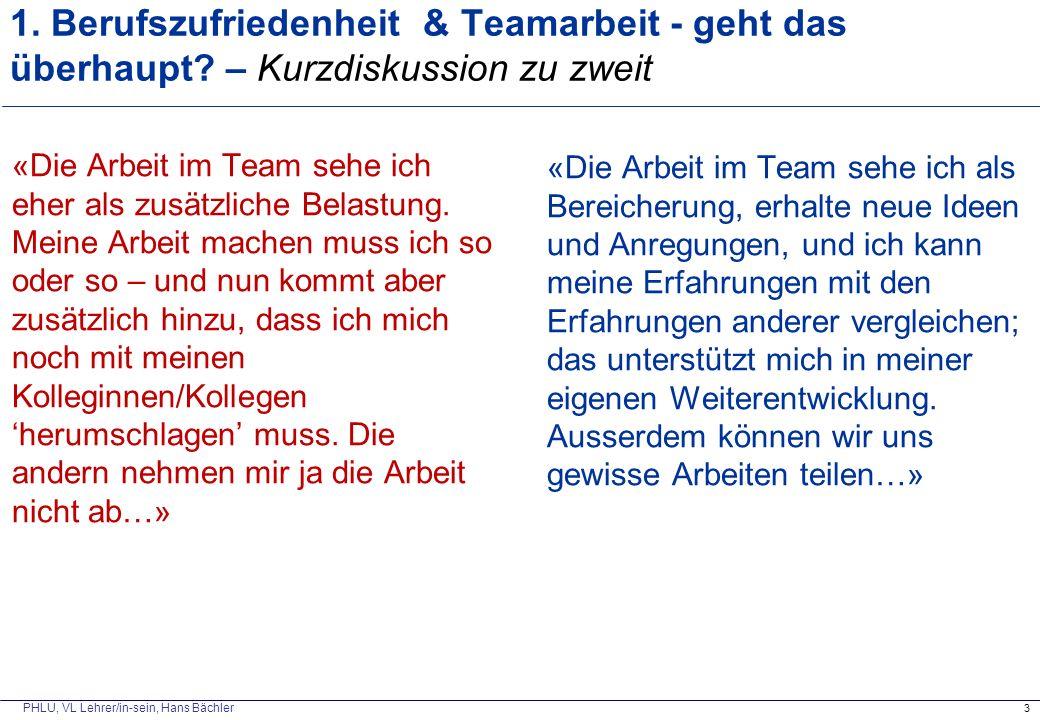 PHLU, VL Lehrer/in-sein, Hans Bächler 1. Berufszufriedenheit & Teamarbeit - geht das überhaupt? – Kurzdiskussion zu zweit «Die Arbeit im Team sehe ich
