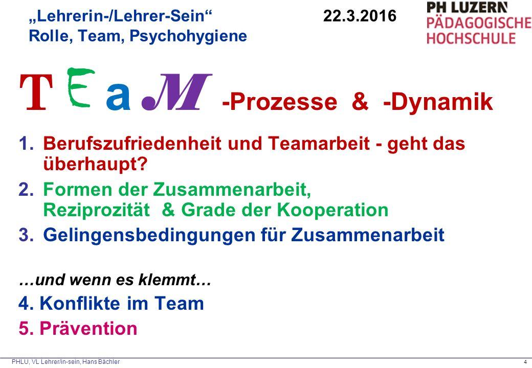 """PHLU, VL Lehrer/in-sein, Hans Bächler 4 """"Lehrerin-/Lehrer-Sein"""" 22.3.2016 Rolle, Team, Psychohygiene T E a M -Prozesse & -Dynamik 1.Berufszufriedenhei"""
