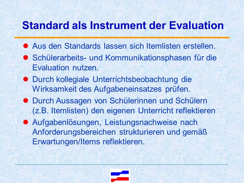 Standard als Instrument der Evaluation Aus den Standards lassen sich Itemlisten erstellen.