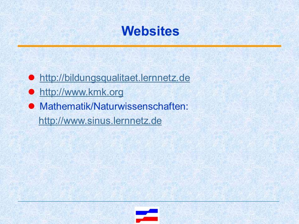Websites http://bildungsqualitaet.lernnetz.de http://www.kmk.org Mathematik/Naturwissenschaften: http://www.sinus.lernnetz.de