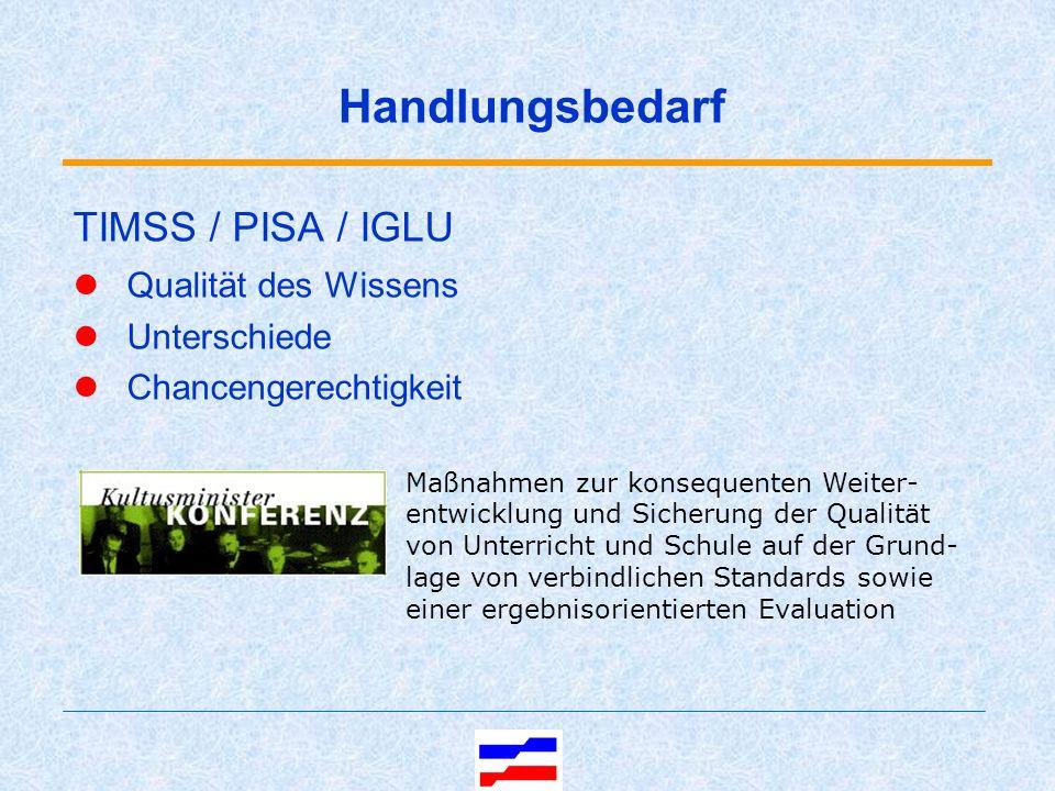 TIMSS / PISA / IGLU Qualität des Wissens Unterschiede Chancengerechtigkeit Maßnahmen zur konsequenten Weiter- entwicklung und Sicherung der Qualität von Unterricht und Schule auf der Grund- lage von verbindlichen Standards sowie einer ergebnisorientierten Evaluation Handlungsbedarf