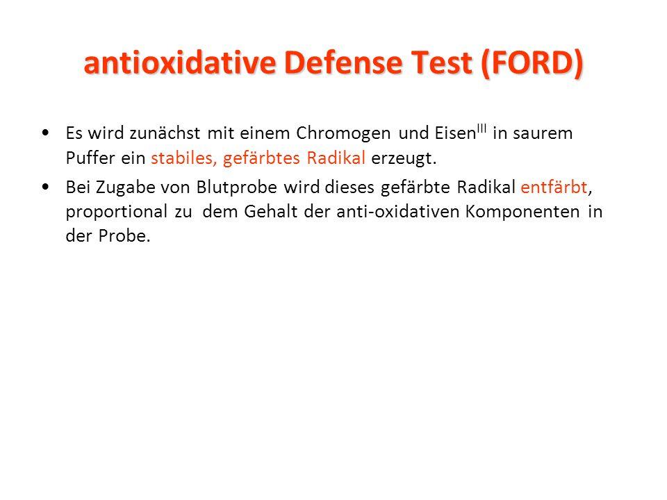 antioxidative Defense Test (FORD) Es wird zunächst mit einem Chromogen und Eisen III in saurem Puffer ein stabiles, gefärbtes Radikal erzeugt.
