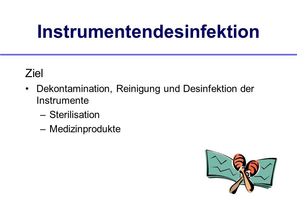 Instrumentendesinfektion Ziel Dekontamination, Reinigung und Desinfektion der Instrumente –Sterilisation –Medizinprodukte