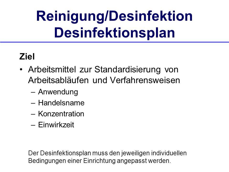 Reinigung/Desinfektion Desinfektionsplan Ziel Arbeitsmittel zur Standardisierung von Arbeitsabläufen und Verfahrensweisen –Anwendung –Handelsname –Kon