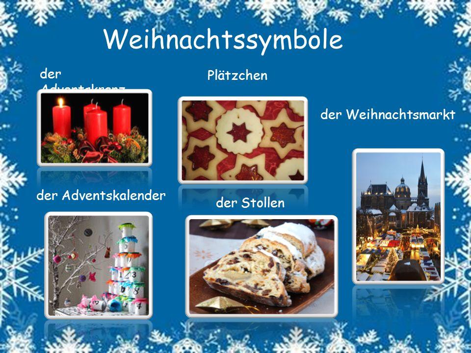 Weihnachtssymbole der Adventskranz der Adventskalender Plätzchen der Weihnachtsmarkt der Stollen