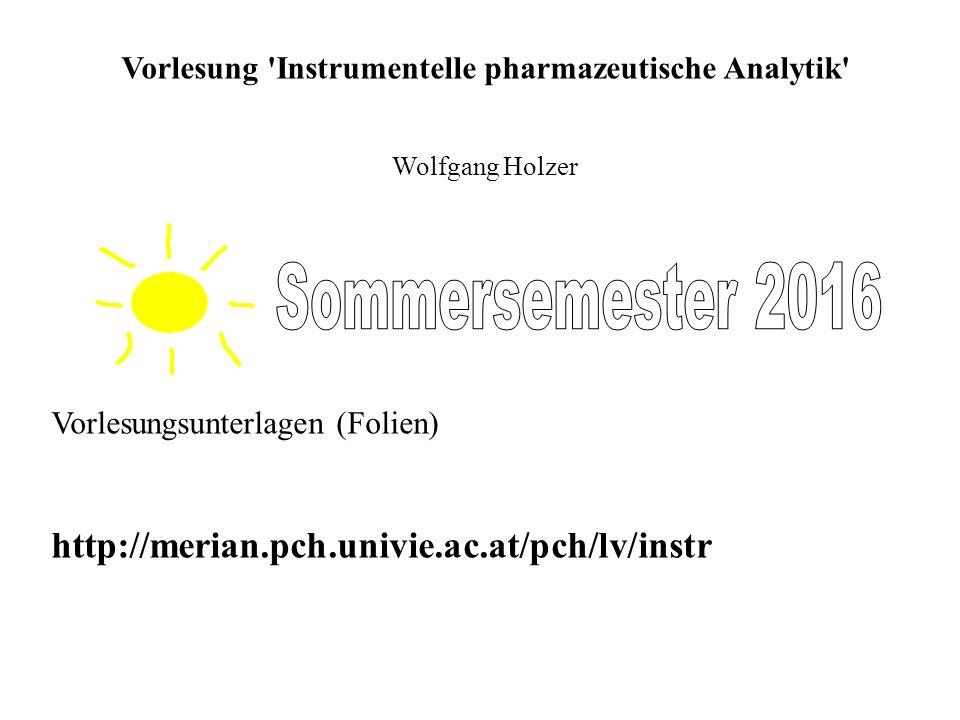 Vorlesung Instrumentelle pharmazeutische Analytik Wolfgang Holzer Vorlesungsunterlagen (Folien) http://merian.pch.univie.ac.at/pch/lv/instr