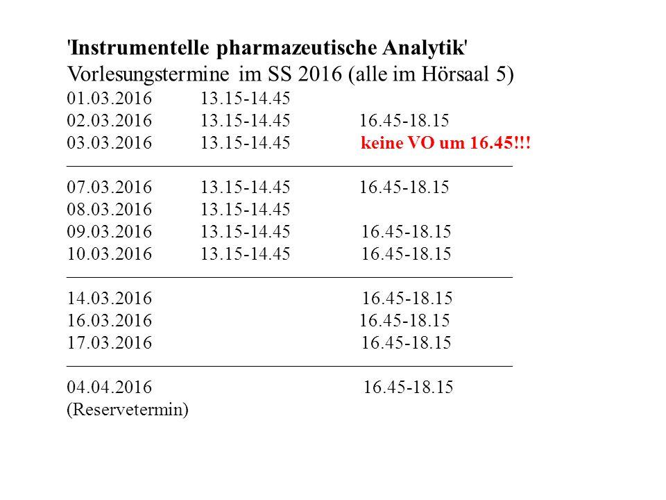 Instrumentelle pharmazeutische Analytik Vorlesungstermine im SS 2016 (alle im Hörsaal 5) 01.03.201613.15-14.45 02.03.201613.15-14.45 16.45-18.15 03.03.201613.15-14.45 keine VO um 16.45!!.