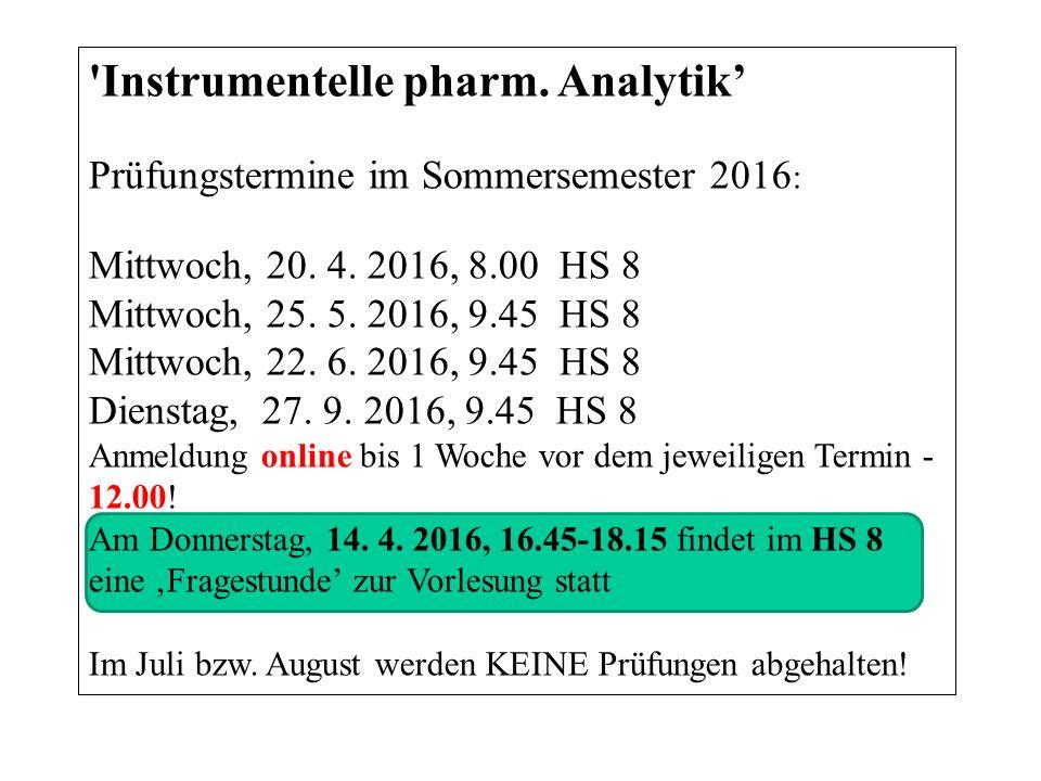 Instrumentelle pharm. Analytik' Prüfungstermine im Sommersemester 2016 : Mittwoch, 20.