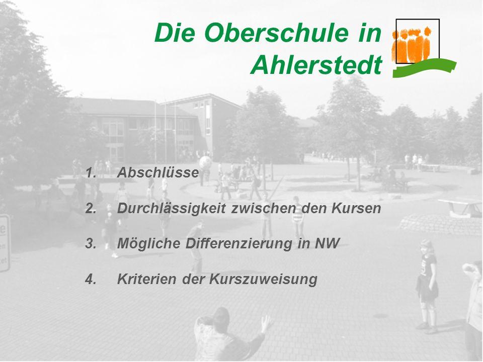 Die Oberschule in Ahlerstedt 1.Abschlüsse 2.Durchlässigkeit zwischen den Kursen 3.Mögliche Differenzierung in NW 4.Kriterien der Kurszuweisung