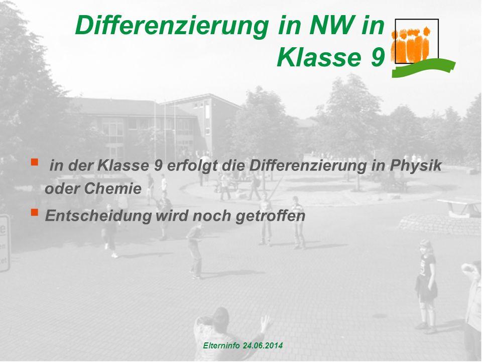 Differenzierung in NW in Klasse 9  in der Klasse 9 erfolgt die Differenzierung in Physik oder Chemie  Entscheidung wird noch getroffen Elterninfo 24.06.2014
