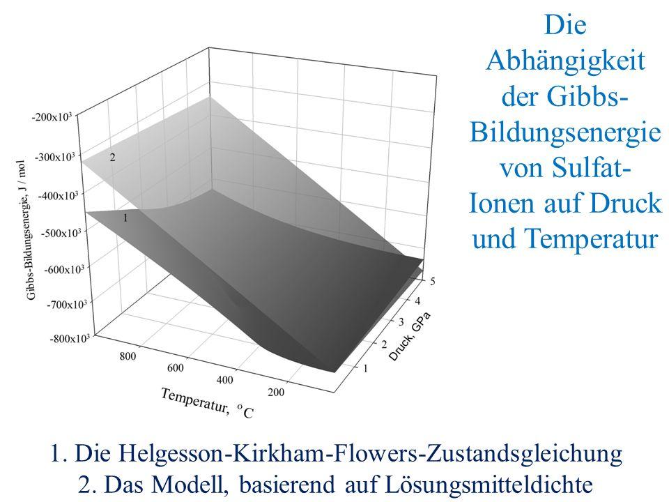 Die Abhängigkeit der Gibbs- Bildungsenergie von Sulfat- Ionen auf Druck und Temperatur 1.
