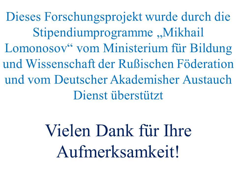 """Dieses Forschungsprojekt wurde durch die Stipendiumprogramme """"Mikhail Lomonosov vom Ministerium für Bildung und Wissenschaft der Rußischen Föderation und vom Deutscher Akademisher Austauch Dienst überstützt Vielen Dank für Ihre Aufmerksamkeit!"""