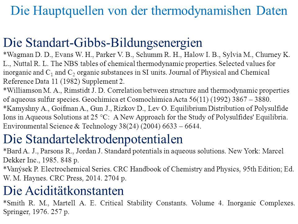 Die Hauptquellen von der thermodynamishen Daten Die Standart-Gibbs-Bildungsenergien *Wagman D.