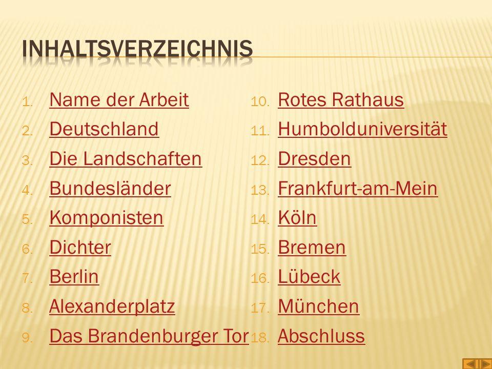 1. Name der Arbeit Name der Arbeit 2. Deutschland Deutschland 3. Die Landschaften Die Landschaften 4. Bundesländer Bundesländer 5. Komponisten Komponi