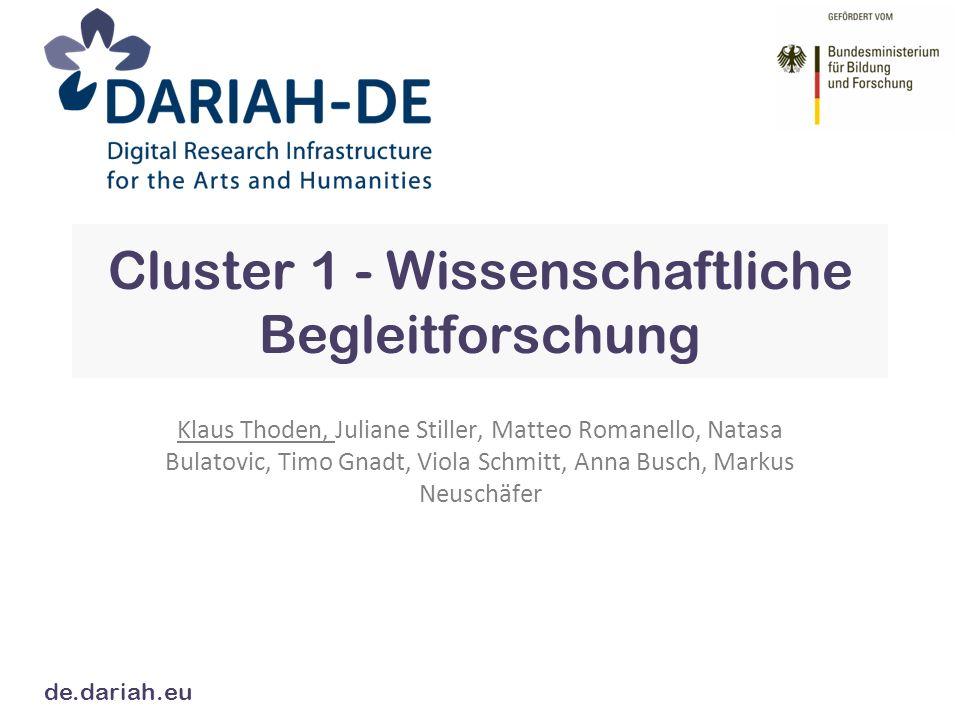 Themen Usability Impact und Erfolg Bedürfnisse der Nutzer DARIAH-DE Cluster 1
