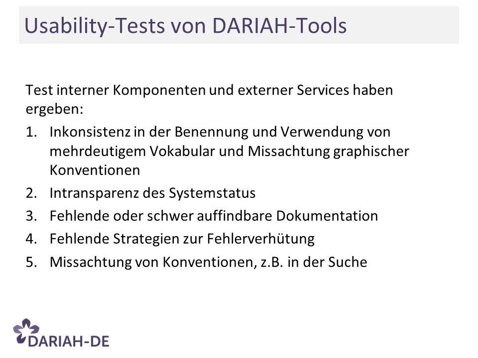 Test interner Komponenten und externer Services haben ergeben: 1.Inkonsistenz in der Benennung und Verwendung von mehrdeutigem Vokabular und Missachtu