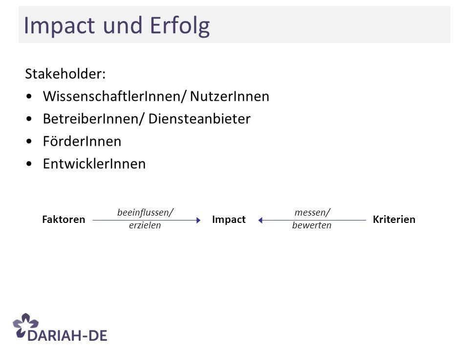 beeinflussen/ erzielen FaktorenImpactKriterien messen/ bewerten Impact und Erfolg Stakeholder: WissenschaftlerInnen/ NutzerInnen BetreiberInnen/ Diens