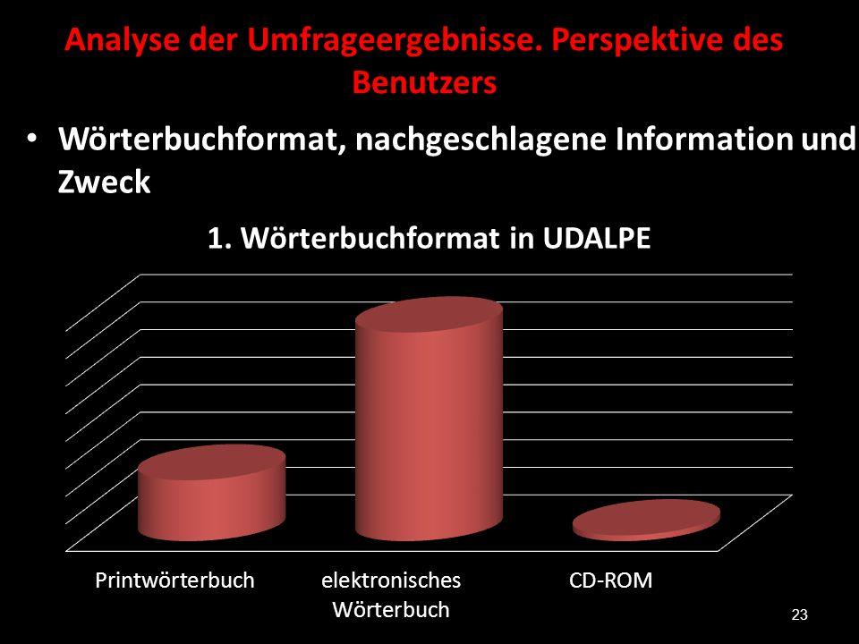 Analyse der Umfrageergebnisse. Perspektive des Benutzers Wörterbuchformat, nachgeschlagene Information und Zweck 23