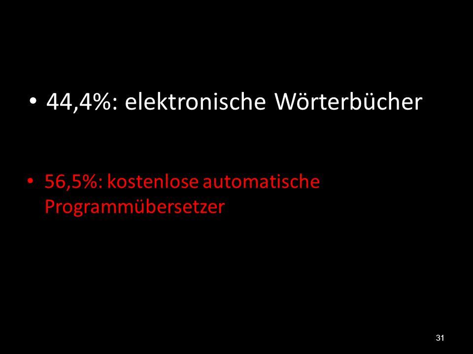 44,4%: elektronische Wörterbücher 31 56,5%: kostenlose automatische Programmübersetzer