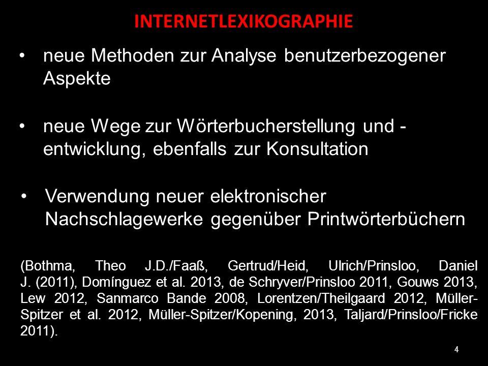 INTERNETLEXIKOGRAPHIE 4 neue Methoden zur Analyse benutzerbezogener Aspekte neue Wege zur Wörterbucherstellung und - entwicklung, ebenfalls zur Konsul